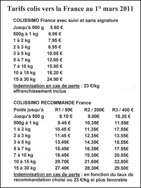 dates de commande et livraison ...tarifs   2011